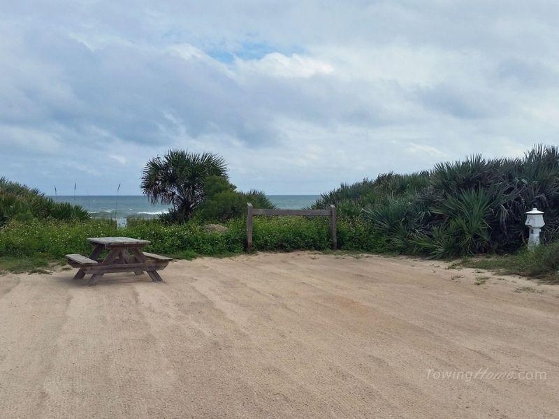 empty campsite at florida beach campground