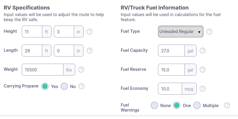 rv size and fuel info