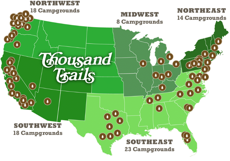 thousand trails camping pass map